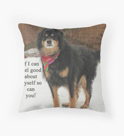 If I can feel good about myself so can you. Throw Pillow