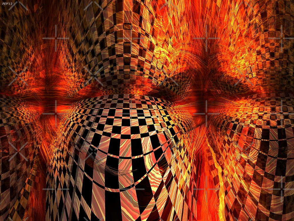 Red And Yellow Checkerboard by Phil Perkins