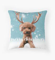 Merry Christmas Poodle Throw Pillow