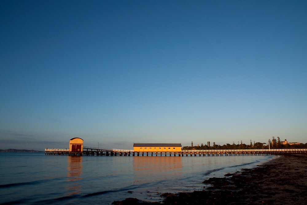 Queenscliff Black Lighthouse and Pier by John Sharp