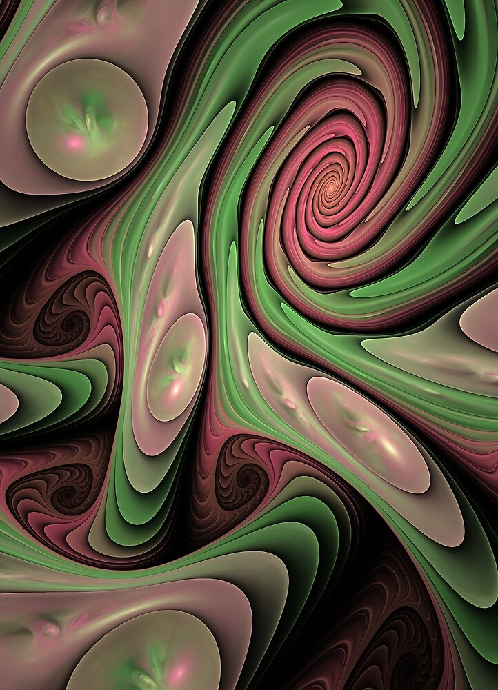 Swirling fun, abstract fractal design by walstraasart