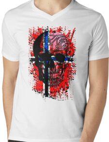 Skull circuit (norway-flag) Mens V-Neck T-Shirt