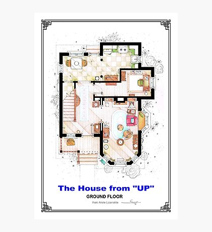 The House from UP - Ground Floor Floorplan Photographic Print