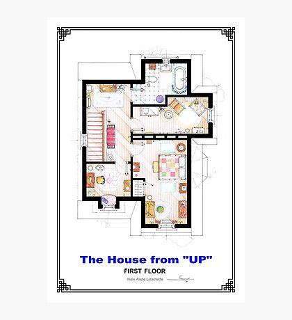 The House from UP - First Floor Floorplan Photographic Print