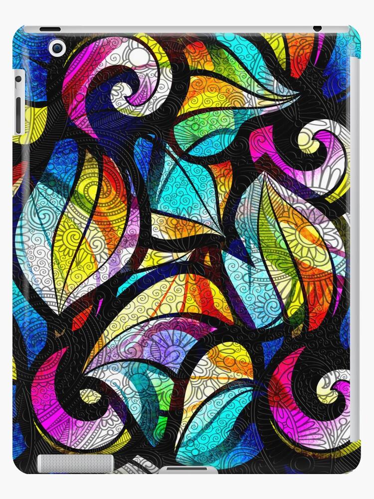 Colorful Random Abstrac Swirls-Stained Glass Look by artonwear
