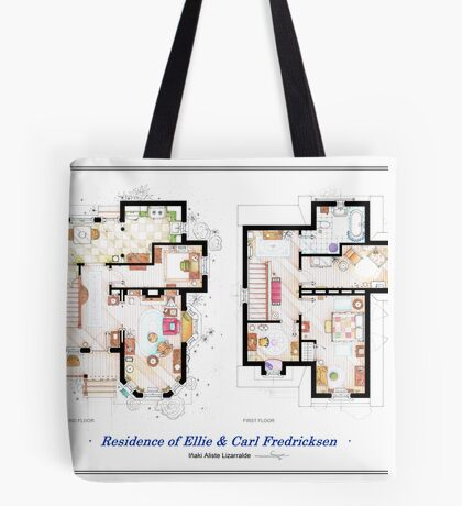 """Floorplan of the House from """"UP"""" Tote Bag"""