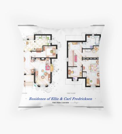 """Floorplan of the House from """"UP"""" Throw Pillow"""
