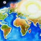 Sunshine Over the World Map by KipDeVore