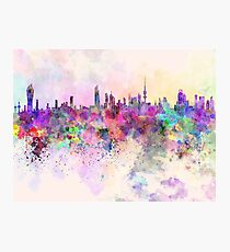 Kuwait City skyline in watercolor background Photographic Print