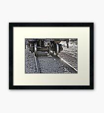Railroad Train Car Wheels Hitting the Tracks Framed Print