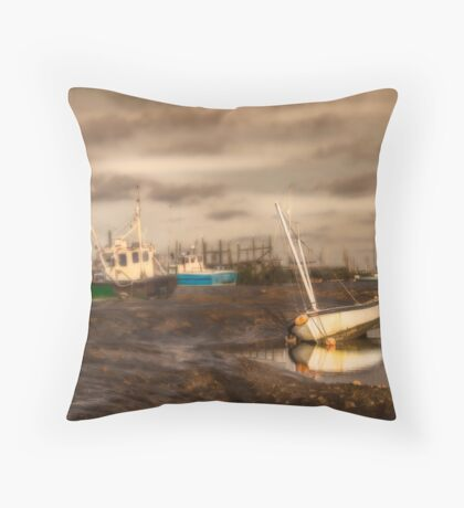 Boats waiting for the tide Throw Pillow