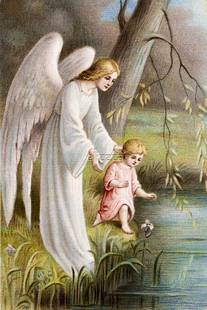 Guardian angel protecting child by elizzza