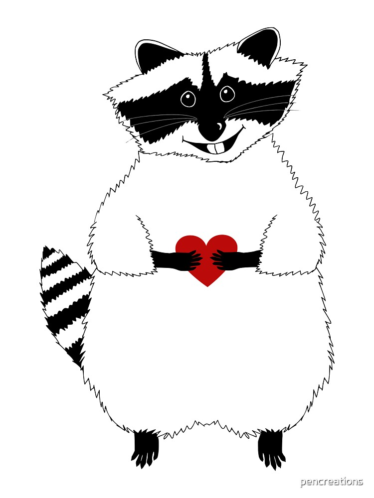 Raccoon with Heart by pencreations