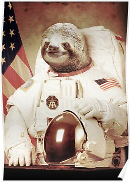 """""""Astronaut Sloth"""" Posters by BakusPT   Redbubble"""