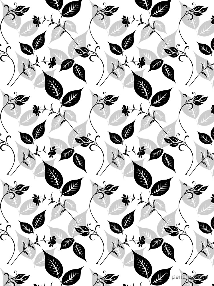 Black Floral with Leaves by pencreations