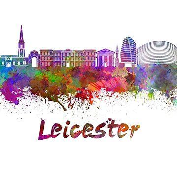 Leicester-Skyline im Aquarell von paulrommer