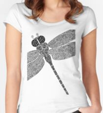 Dragon Fly Doodled Women's Fitted Scoop T-Shirt