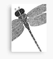 Dragon Fly Doodled Metal Print