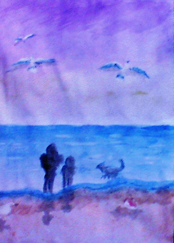 The guys having Quality time together, watercolor by Anna  Lewis, blind artist