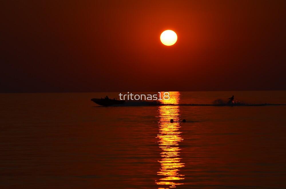 skiing at sunset by tritonas18