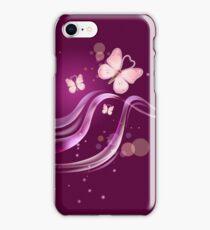 Ruby pink Beautiful & Lovely Butterflies iPhone Case/Skin