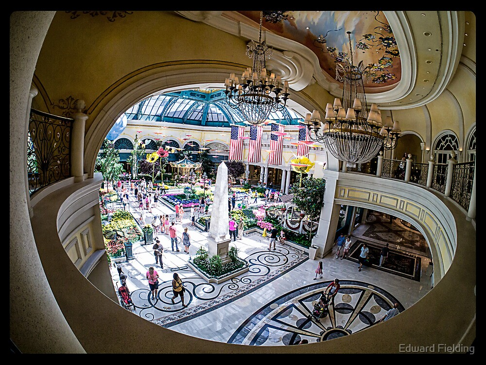 Bellagio Conservatory and Botanical Gardens Fisheye View by Edward Fielding