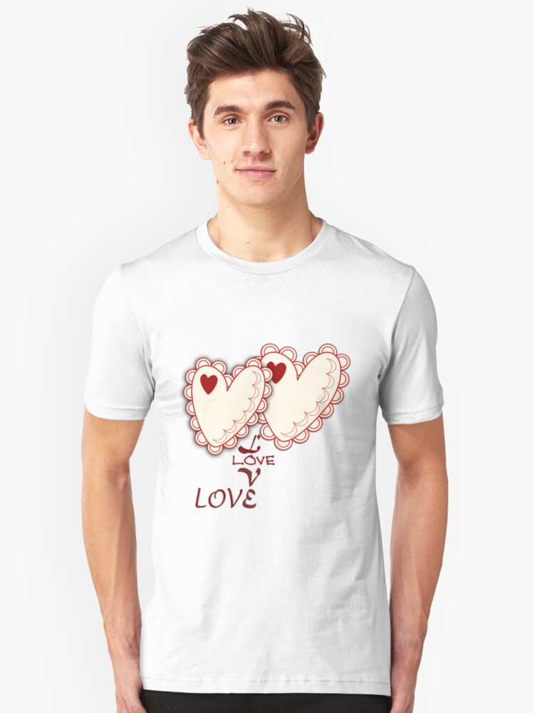 Cute Hearts and Love text Tee Unisex T-Shirt Front