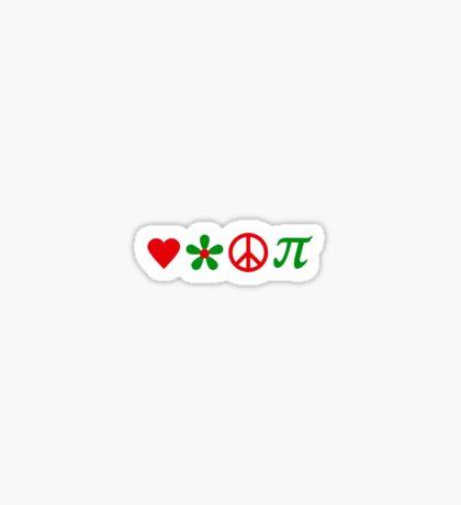 Love, Flower, Peace and Pi VRS2 Sticker