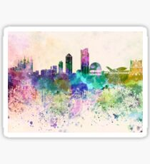 Lyon skyline in watercolor background Sticker