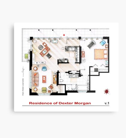 Floorplan of the apartment of Dexter Morgan v.1 Metal Print