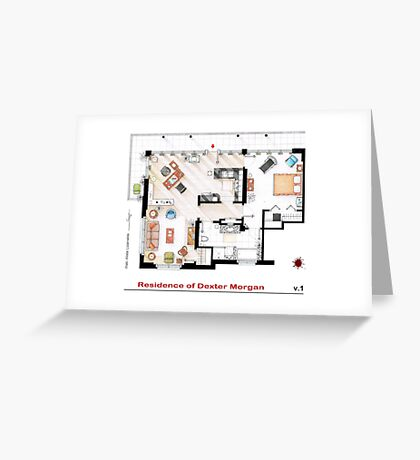 Floorplan of the apartment of Dexter Morgan v.1 Greeting Card