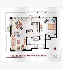 Floorplan of the apartment of Dexter Morgan v.1 Poster