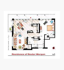 Floorplan of the apartment of Dexter Morgan v.1 Photographic Print