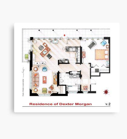 Floorplan of the apartment of Dexter Morgan v.2 Metal Print