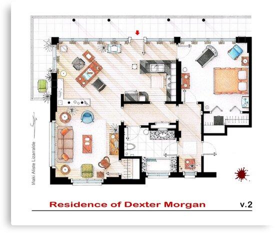 Floorplan of the apartment of Dexter Morgan v.2 by Iñaki Aliste Lizarralde