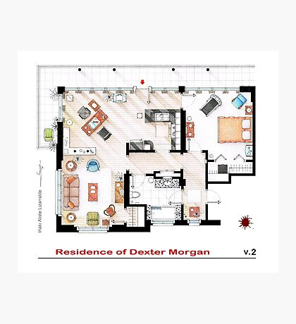 Floorplan of the apartment of Dexter Morgan v.2 Photographic Print