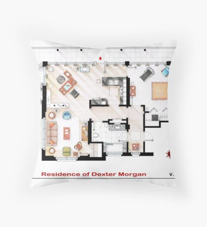 Floorplan of the apartment of Dexter Morgan v.2 Throw Pillow