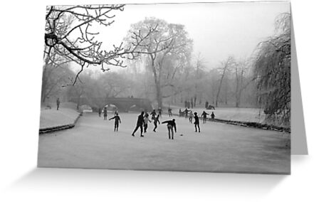 Skaters on the Cambridge Backs, Winter 1962 by NevilleNewman