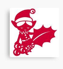 Christmas Elf with a holly leaf Canvas Print