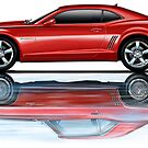 Camaro New Refecting Old in Water Red by davidkyte