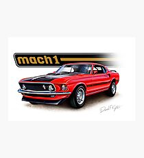 1969 Mustang Mach 1 in Red Fotodruck