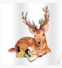Der Hirschreiter nimmt den Rest an der Seite des Rotwilds, ein Buch lesend. Poster