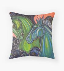Swimming Horses (Hippocampi) Throw Pillow