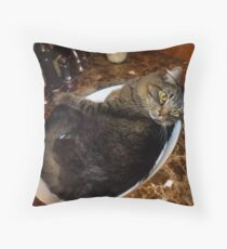 Rub-a-dub-dink my cat's in the sink! ©   Throw Pillow