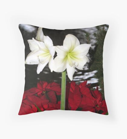 Winter White - Amaryllis Throw Pillow