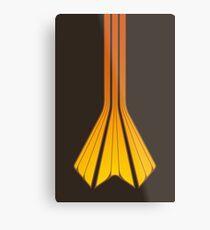 Retro Lines - Orange Flame Metal Print