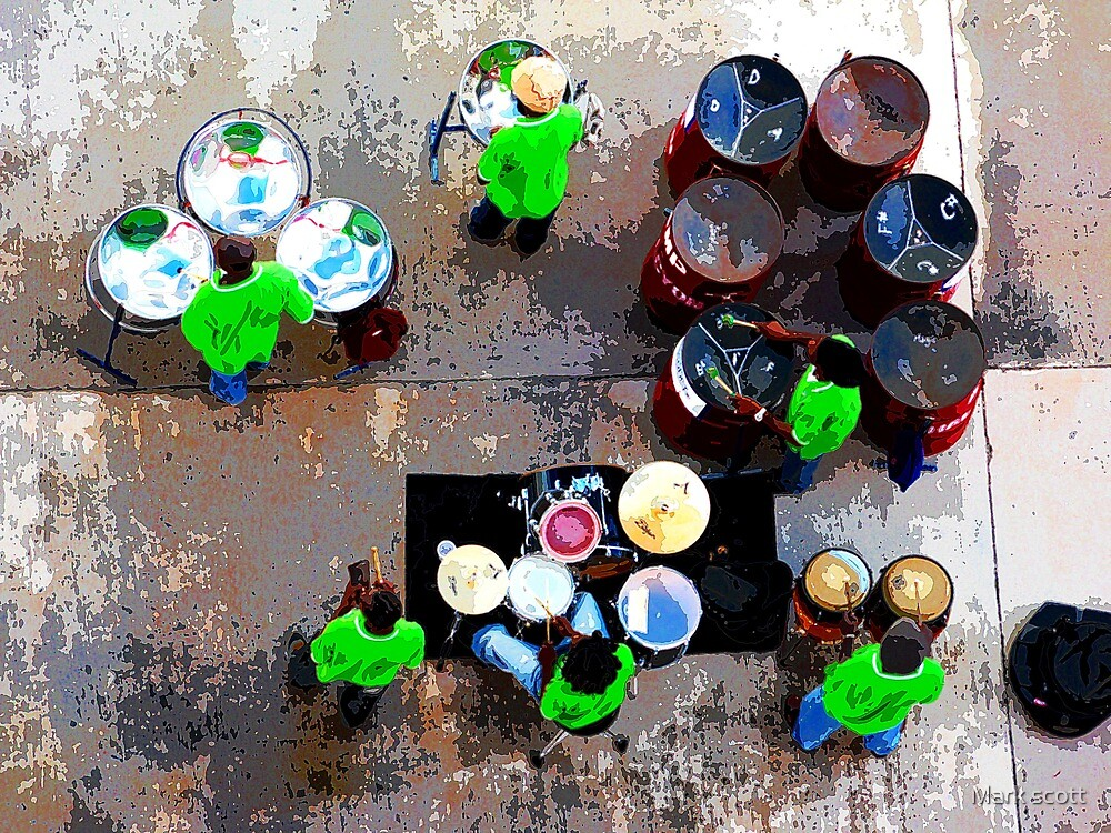 steel band from above by Mark scott