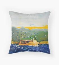 Bait Fishers around a Crabber Throw Pillow