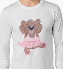Cute Cartoon Teddy Bear Ballerina Long Sleeve T-Shirt
