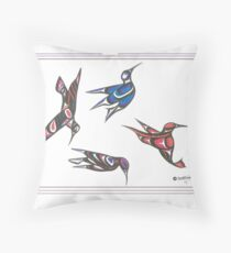4 humming birds Throw Pillow